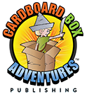 Cardboard Box Adventures Publishing logo of a little boy in a cardboard box with a paper hat and a toy sword having imaginative adventures.