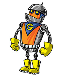 Drawing of GARG the robot from the award-winning Space Cop Zack picture books by Don M. Winn.