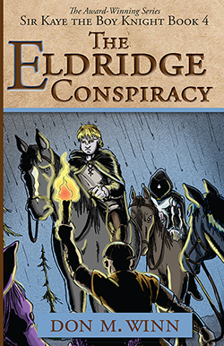 Cover of The Eldridge Conspiracy showing a black and white jousting knight on horseback with a blue helmet plume and blue stripes on his lance.
