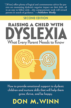 Cover of Raising a Child with Dyslexia by Don M. Winn showing a cut out shapes of a parents and a child surrounded by puzzle shapes.
