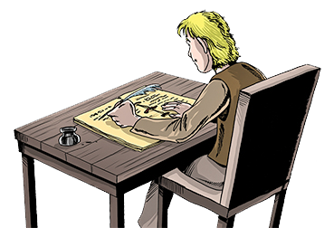 Image of dyslexic Reggie, a character from the chapter book series Sir Kaye the Boy Knight by Don M. Winn, writing at a desk.