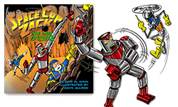 Illustration of GARG the little robot battling Cantobor the giant robot from Space Cop Zack, The Lost Treasure of Zandor by Don M. Winn.